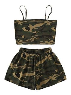 Camo Cami Top With Shorts -SheIn(Sheinside) - Cute Outfits Cute Lazy Outfits, Camo Outfits, Crop Top Outfits, Cute Casual Outfits, Mode Outfits, Stylish Outfits, Two Piece Outfits Shorts, Cute Outfits With Shorts, Jeans Outfit Summer