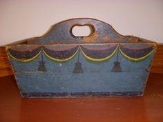 cutlery box in true folk art paint from a mentor,Nina Fletcher Little