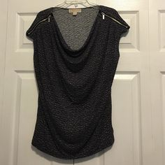 Sleeveless Michael Kors Top Top with cap sleeves and silver zipper detail, has a cowl neckline...so cute! MICHAEL Michael Kors Tops