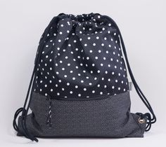 Black polka dots backpack. Fabric backpack. Backpack with cord handles. Drawstring backpack. Travel bag