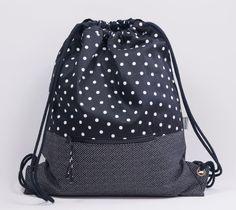 Black polka dots backpack. Fabric backpack. Backpack with cord handles. Drawstring backpack. Travel bag