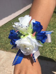 Royal blue and Gray wrist corsage  with Boutonniere, Corsage prom, wedding    #CuadraHauckCreations