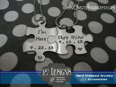 Hey, I found this really awesome Etsy listing at https://www.etsy.com/listing/162708874/personalized-puzzle-piece-necklace-duo