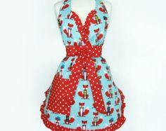 Blue and Red  Fox and Polka Dots Apron  / Red Retro Foxes and Bow Ties