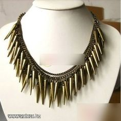 The necklace is crafted in alloy, featuring punk styling with multi chili shaped spike pendant, in a stretch fit. Punk Jewelry, Jewelry Party, Beaded Jewelry, Jewelry Accessories, Jewelry Necklaces, Fashion Jewelry, Bracelets, Chunky Chain Necklaces, Necklaces