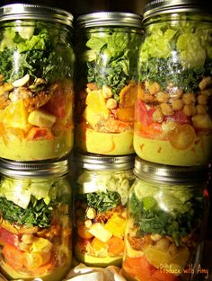 Sunshine Salad in a Jar with a Kick | used peach instead of mango and just 1/2 cup vinegar in dressing; used mango instead of pineapple and canned fava beans instead of chickpeas in salad