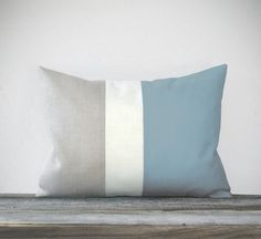 Baby Blue Color Block Pillow with Cream and Natural Linen Stripes by JillianReneDecor Pastel Spring Home Decor Color-block Nursery. $45.00, via Etsy.