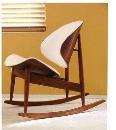 Mid century Kodawood clam shell rocking chair