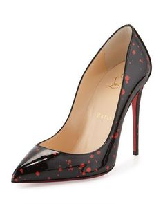 Christian Louboutin OFF! Pigalle Follies Flecked Red Sole Pump Black/Red by Christian Louboutin at Neiman Marcus. High Heels Stiletto, Pointed Toe Pumps, High Heel Pumps, Pumps Heels, Red Pumps, Crazy Shoes, Me Too Shoes, Mode Shoes, Red Sole