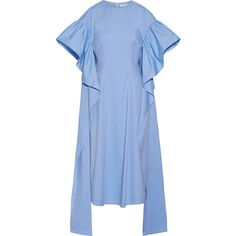 Rejina Pyo Grace ruffled cotton-chambray midi dress (17 840 UAH) ❤ liked on Polyvore featuring dresses, calf length dresses, ruffle dresses, blue midi dress, fitted tops and flutter-sleeve dress