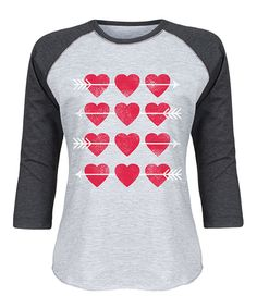 Look at this Athletic Heather & Heather Black Heart Grid Raglan Tee on #zulily today!