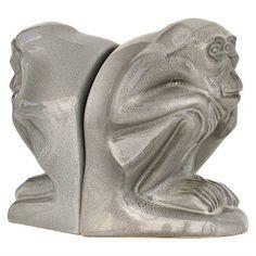 Jan Schonk Pair of Ceramic Bookends Depicting Monkeys, Dutch Art Deco