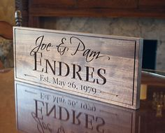 Last Name Sign 5yr Anniversary Gift by BenchMarkCustomSigns