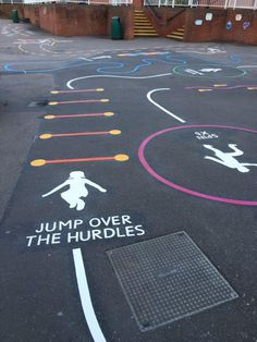 Thermoplastic markings can add colour and interest to a play area / school playground incorporating games, sports or education features to a tarmac surface.