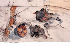 John Wolseley at Roslyn Sydney Landscape Drawings, Watercolor Landscape, Abstract Watercolor, Watercolor And Ink, Landscape Art, Landscape Paintings, Australian Painting, Australian Artists, Environmental Art