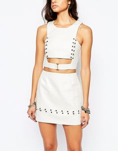 Image 3 ofThe Laden Showroom X Rok & Rebelle Crop Top with Eyelet and Jumpring Detail