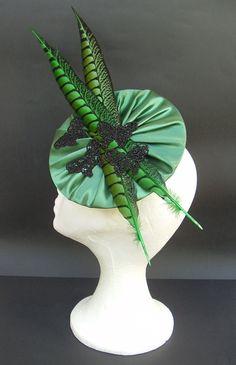 Emerald green fascinator hat headpiece hairpiece / green black fascinator hat with pheasant feathers and butterflies / Wedding fascinator