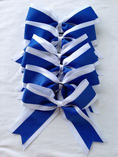 Royal blue and white cheer bow hair bow by PrettyLiddyHairBows