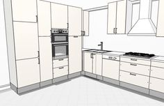 L shaped kitchen with one wall using full height cabinets - 3D.
