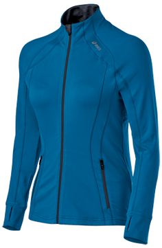 Thermopolis® LT Full Zip @ ASICSAmerica; I have this in black (but I'd love the peacock color!) and I wear it more than any other long-sleeved running shirt/top/jacket. It's the pockets, the thumbholes and the fabric that sold me on it.
