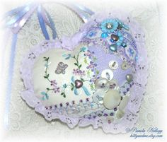 Orchid Hanging Heart Door Pillow Hand Embroidered by Kittyandme
