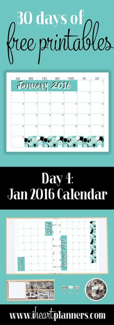 2016 Printable January Calendar