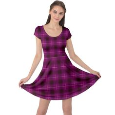 Dark purple, violet tartan, buffalo plaid like pattern Cap Sleeve Dress Buffalo Plaid, Dark Purple, Fit And Flare, Creative Design, Tartan, Cap Sleeves, Womens Fashion, Girls, Fabric