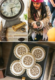 A Neutral Jake & the Neverland Pirates Birthday Party with a Pirate dress up station, Walk the Plank game, wooden ship centerpieces, treasure chest lunch boxes + golden compass cookies.