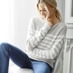 Cashmere Stripe Sweater | The White Company US. Here at The White Company, we firmly believe that luxurious pieces shouldn't just be reserved for best, which is why we formulate our staple styles in beautiful fabrics. Shopping from the UK? -> http://www.thewhitecompany.com/Cashmere-Stripe-Jumper/p/CSCJN?swatch=Pale+Grey+Marl