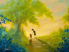 Winnie the Pooh - Walking the Path Together - Christopher Robin - Original by Rob Kaz presented by World Wide Art Disney Fine Art, Disney Paintings, Winnie The Pooh Friends, Disney Kunst, Christopher Robin, Pooh Bear, Art Design, American Artists, Artist Art