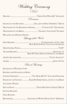 Catholic Wedding Program Idea Clean And Simple Layout Fall - Luxury church directory template concept