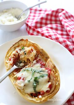 Cheesy Baked Spaghetti Squash Boats with Grilled Chicken | Skinnytaste