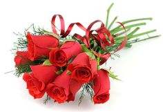 #bouquet, #ribbon, #White background, #red, #roses, #flowers