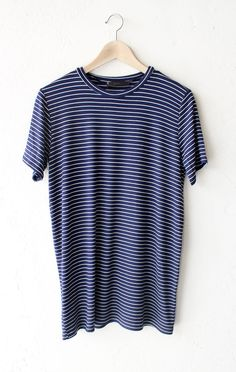 "- Description Details: Soft short sleeve striped oversized shirt in navy/white. Oversized, very loose fit. Measurements: (Size Guide) S: 38"" bust, 28"" length M: 40"" bust, 29"" length L: 42"" bust, 30"" l"