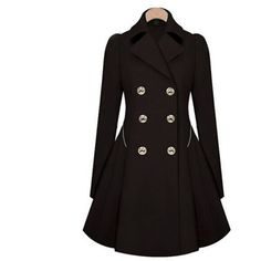 Women's US Ladies Slim Outwear Coat Breasted Long Trench Overcoat... ($40) ❤ liked on Polyvore featuring outerwear, coats, black, slim fit long coat, long overcoat, slim fit overcoat, slim long coat and slim coat