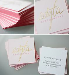Misc. Wedding Details / business card gold letterpress, pink edge painting - gorgeous!