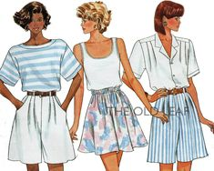 Sewing Pattern for 1980s Wide Leg Shorts, Fast Easy Butterick 6247 #WideLegShorts #SplitSkirt #80sShortPatterns #1980sShorts #PlusSizeSewing #EasySewingProjects #TheOldLeaf
