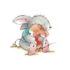 Cute illustrations - Mikki Butterley - Rabbit and mouse cuddle. Illustration Mignonne, Mouse Illustration, Elephant Illustration, Character Illustration, Bunny Art, Cute Bunny, Cute Animal Drawings, Cute Drawings, Lapin Art
