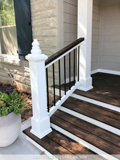 My Finished Front Porch Steps And Railings - Addicted 2 Decorating®My Finished Front Porch Steps And Railings - Addicted 2 Decorating®Backyard Deck Ideas - 10 Simple Updates to Try! Front Porch Railings, Front Porch Design, Porch Columns, Porch Steps, Front Steps, Porch Roof, Front Porch Pillars, Front Porch Deck, Diy Porch