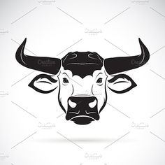 Vector of a bull head. by yod67 on @creativemarket