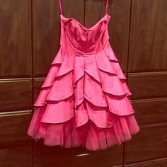 Betsey Johnson Perfect Party Dress Pink party dress; fully lined authentic Betsey Johnson size 6; tool underneath to give it a poof; perfect for proms/formals/parties! Features black sequin edges; does not have a tag in the inside that shows size - just one for cleaning instructions/material Betsey Johnson Dresses Strapless