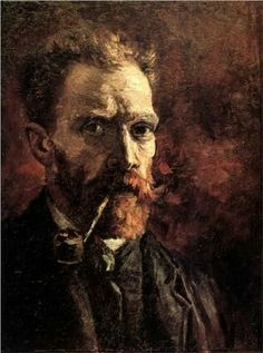 """Self-Portrait With Pipe""  --  1886 -- Vincent van Gogh  --  Dutch  --  Oil on canvas  --  Vincent #VanGogh #artist #paintings"