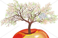 Vector 3d red apple with growing flowering tree on white horizontal