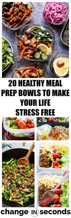 20 healthy meal prep bowls to make your life stress free! These meal prep bowl recipes for breakfast, lunch and dinner are so easy to prepare! #cleaneating, #eatclean, #healthy, #mealprep, #mealprepbowls, #food, #healthyrecipes, #meal,