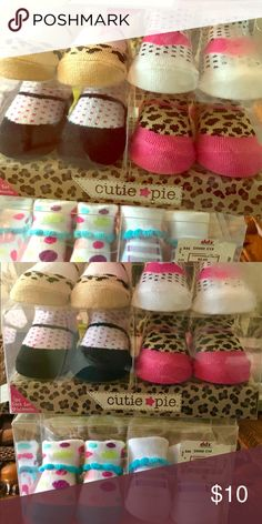 BRAND NEW! 6 Pairs of Socks/Shoes for 0-6 months The cutest little sock/shoes for your newborn to 6 months old. These are still in the pkg! Price is for all! cutie pie Shoes Slippers