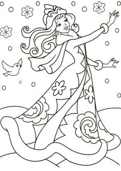 Malen nach einem Winterthema für Kinder – Suche in … – новый год - Malvorlagen Mandala Barbie Coloring Pages, Princess Coloring Pages, Colouring Pages, Adult Coloring Pages, Coloring Books, Winter Thema, Winter Princess, Preschool Arts And Crafts, Mermaid Coloring