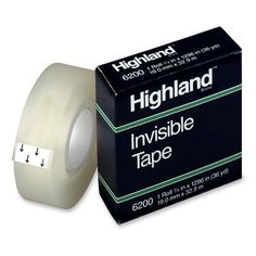 """3m commercial office supply div. invisible tape, 1"""" core, 3/4""""x1296"""", clear"""