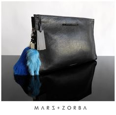 Mars+Zorba chic (with an edge) leather goods Alexia Black+Silver maxi clutch HookIt! Pale Blue + Francia marsandzorba.com