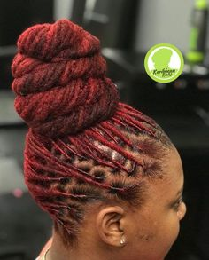 ❤ her dreads and the color ! Natural Hair Salons, Natural Hair Care, Natural Hair Styles, Dreadlock Styles, Dreads Styles, How To Style Dreadlocks, Hair Locks, My Hair, Hair Updo