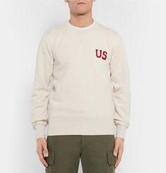 visvim - Slim-Fit Appliquéd Loopback Cotton-Blend Jersey Sweatshirt